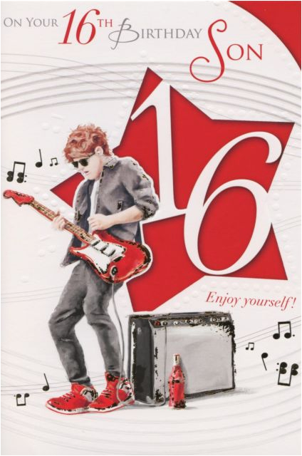 16th Birthday Cards For Son Music Theme Happy Greetings Best