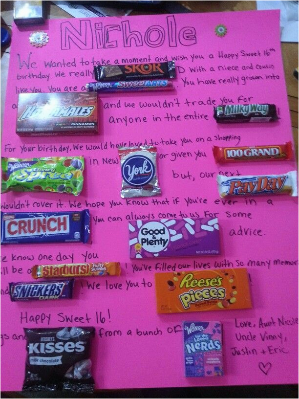 16th Birthday Gift Ideas For Her Sweet 16 Candy Poster Gifts Pinterest