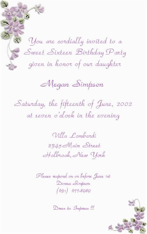 16th Birthday Invitation Wording Sweet 16 Picture Ebookzdb Com