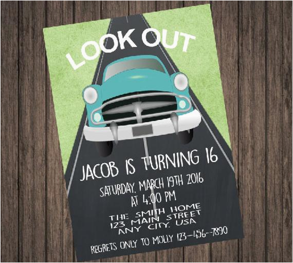 16th Birthday Party Invitations for Boys Boy 16th Birthday Invitation