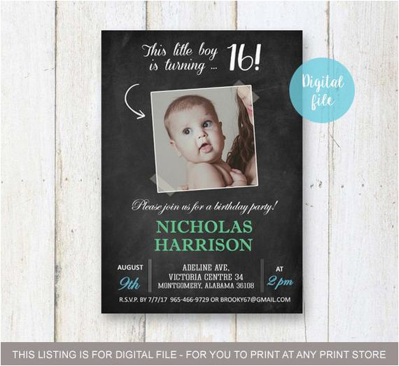 16th Birthday Party Invitations For Boys Sweet Invitation Personalized