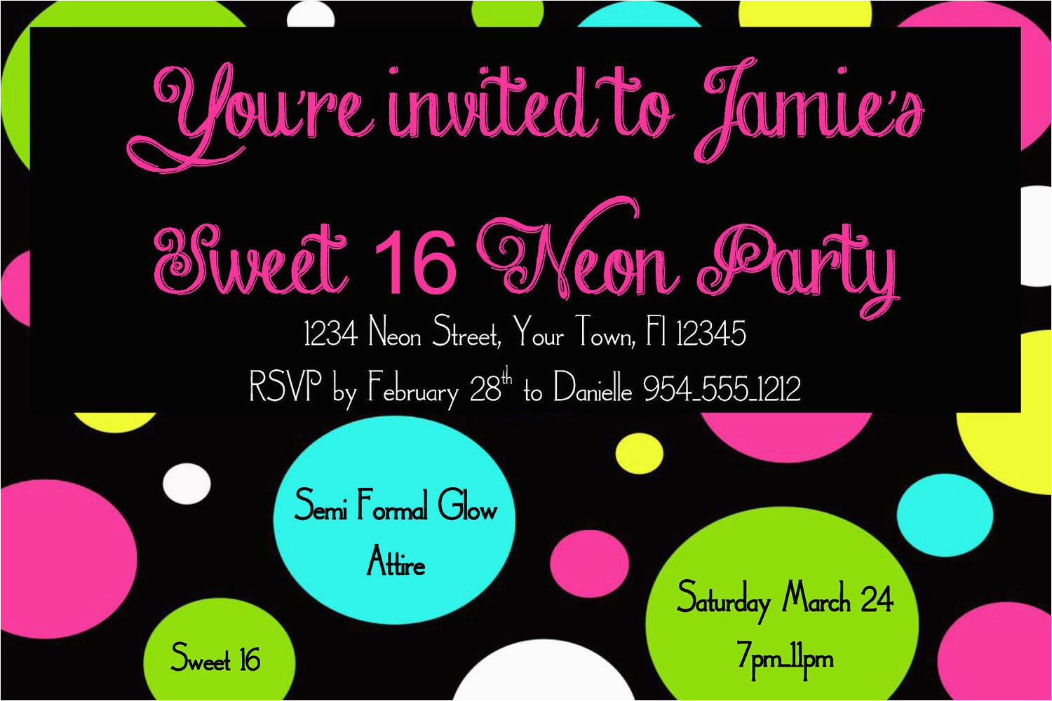 16th Birthday Party Invitations Templates Free Neon Sweet 16 Invitation Template 4x6
