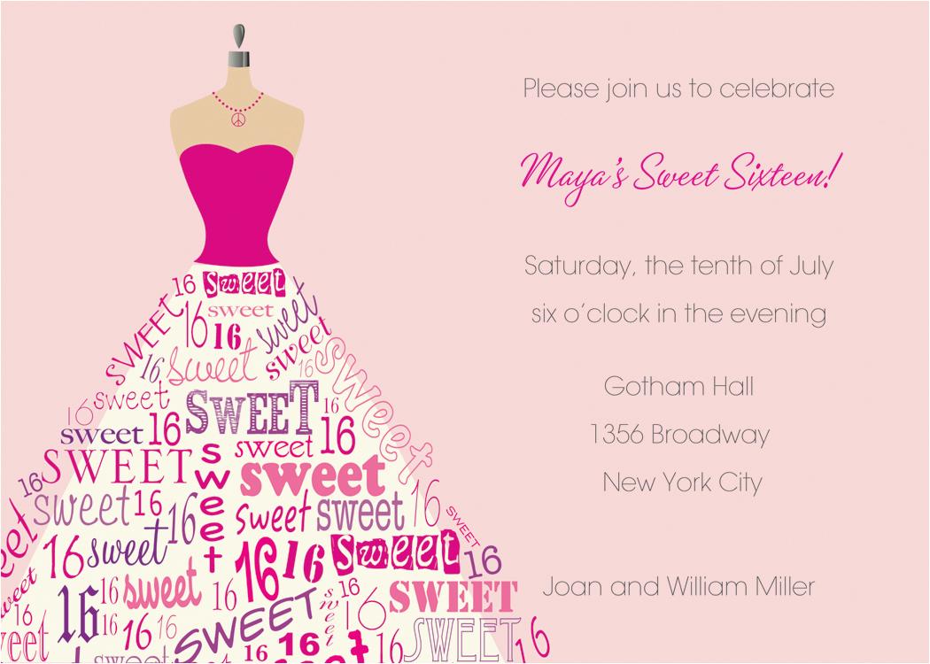 sweet 16th birthday invitations templates free