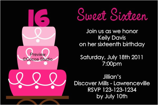 16th Birthday Party Invitations Templates Free Sweet Drevio