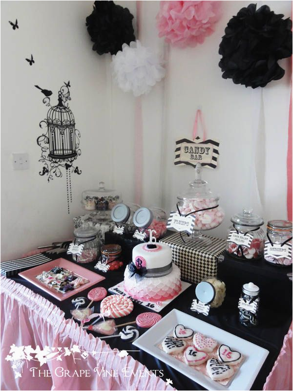 16th Birthday Table Decorations The Grape Vine Events Black White And Pink Buffet