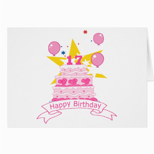 17 Year Old Birthday Cards 17 Year Old Birthday Cake Greeting Card Zazzle