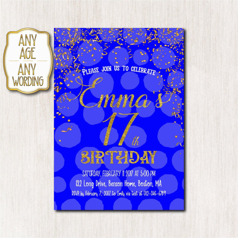 17th Birthday Party Invitations 17th Birthday Invitation Royal Blue and Gold Birthday