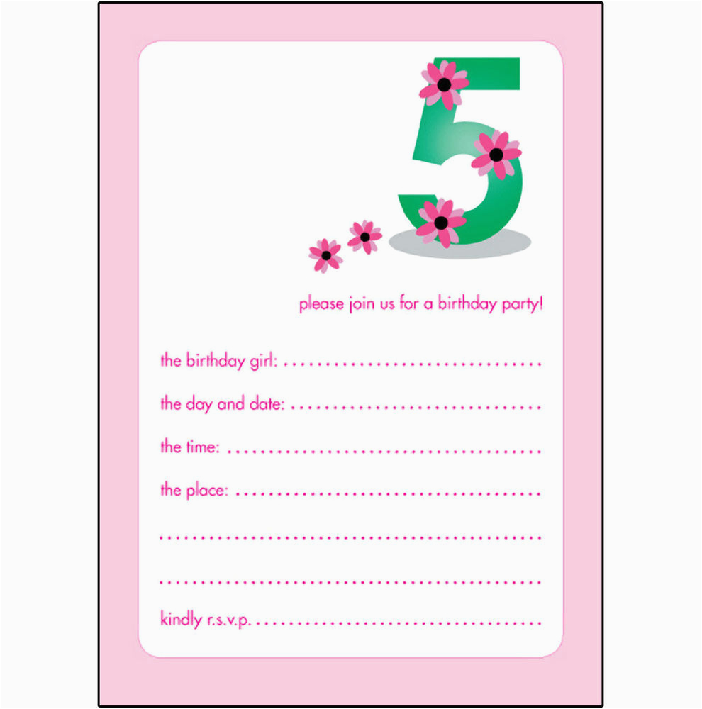 18 Year Old Birthday Party Invitations 10 Childrens 5 Years Girl