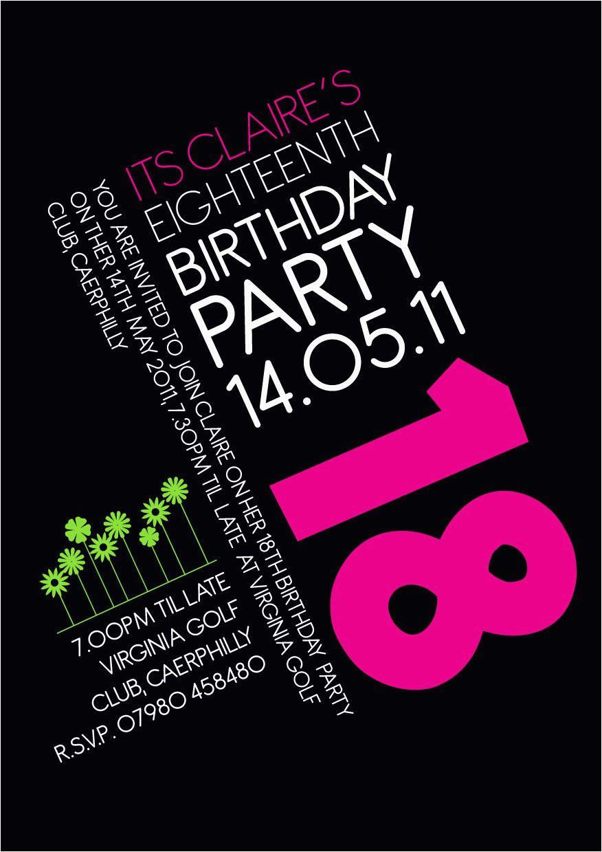 18 Year Old Birthday Party Invitations 18th Invitation Idea Pinterest
