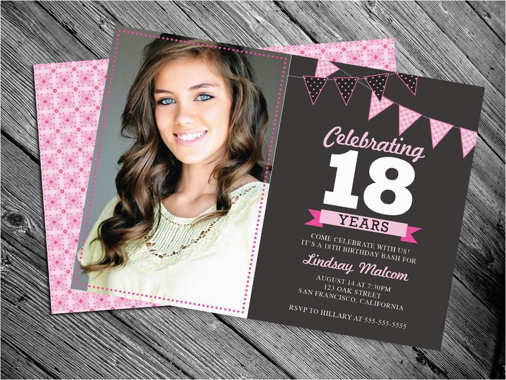 18 Year Old Birthday Party Invitations 18th Invitation