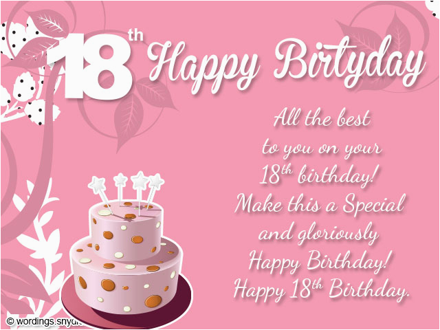 18th Birthday Cards For Girls Wishes Greeting And Messages Wordings