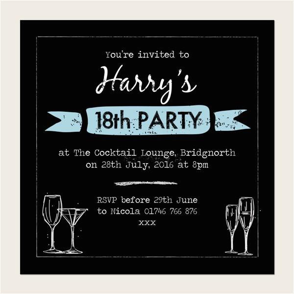 18th Birthday Invitations for Guys 18th Birthday Invitations Boys Chalkboard