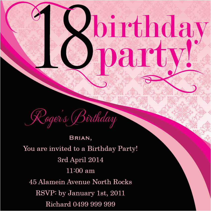 18th Birthday Party Invitation Ideas Wording