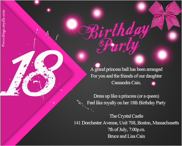 18th Birthday Party Invitation Ideas Wording Wordings And Messages