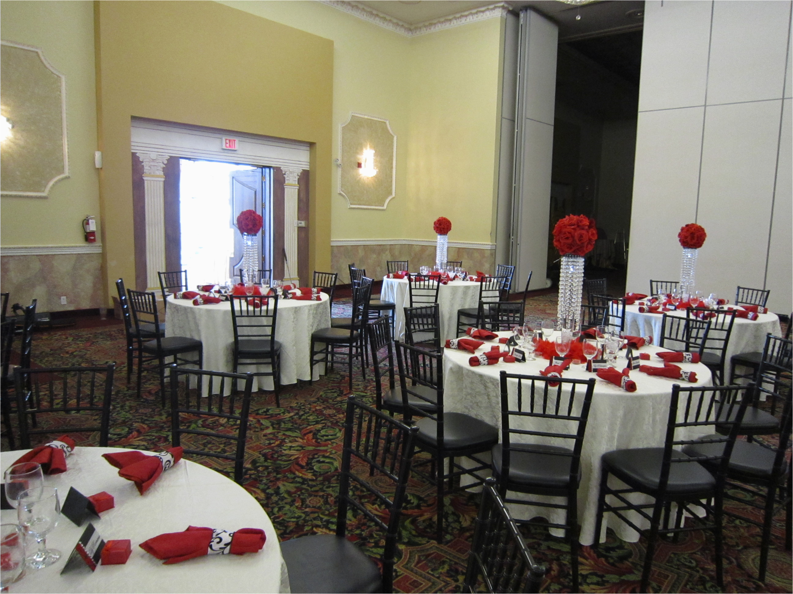 18th birthday party with red rose ball crystal centerpieces