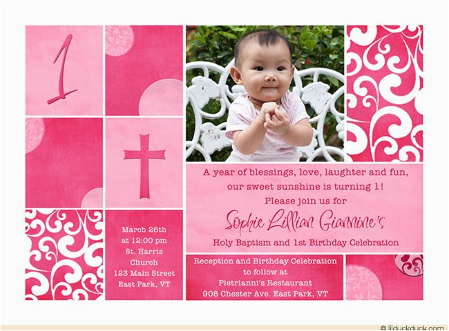 1st Birthday And Baptism Combined Invitations Birthdaybuzz