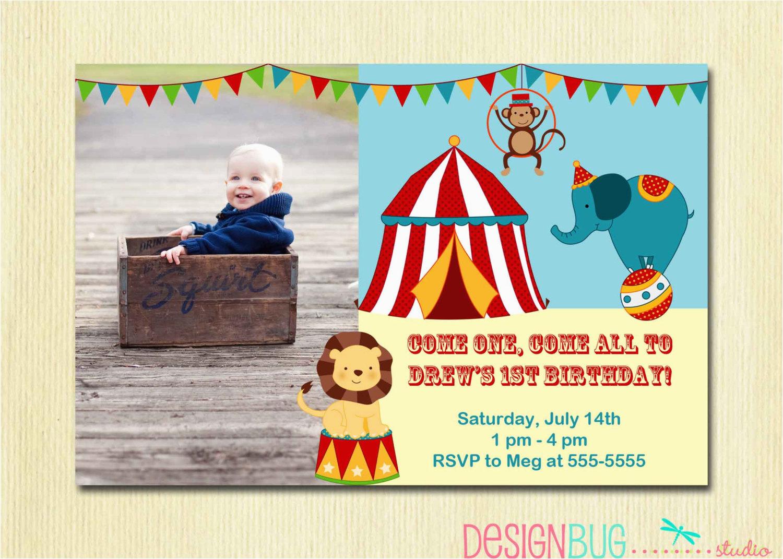 1st Birthday Circus Invitations Circus Carnival Birthday Invitation