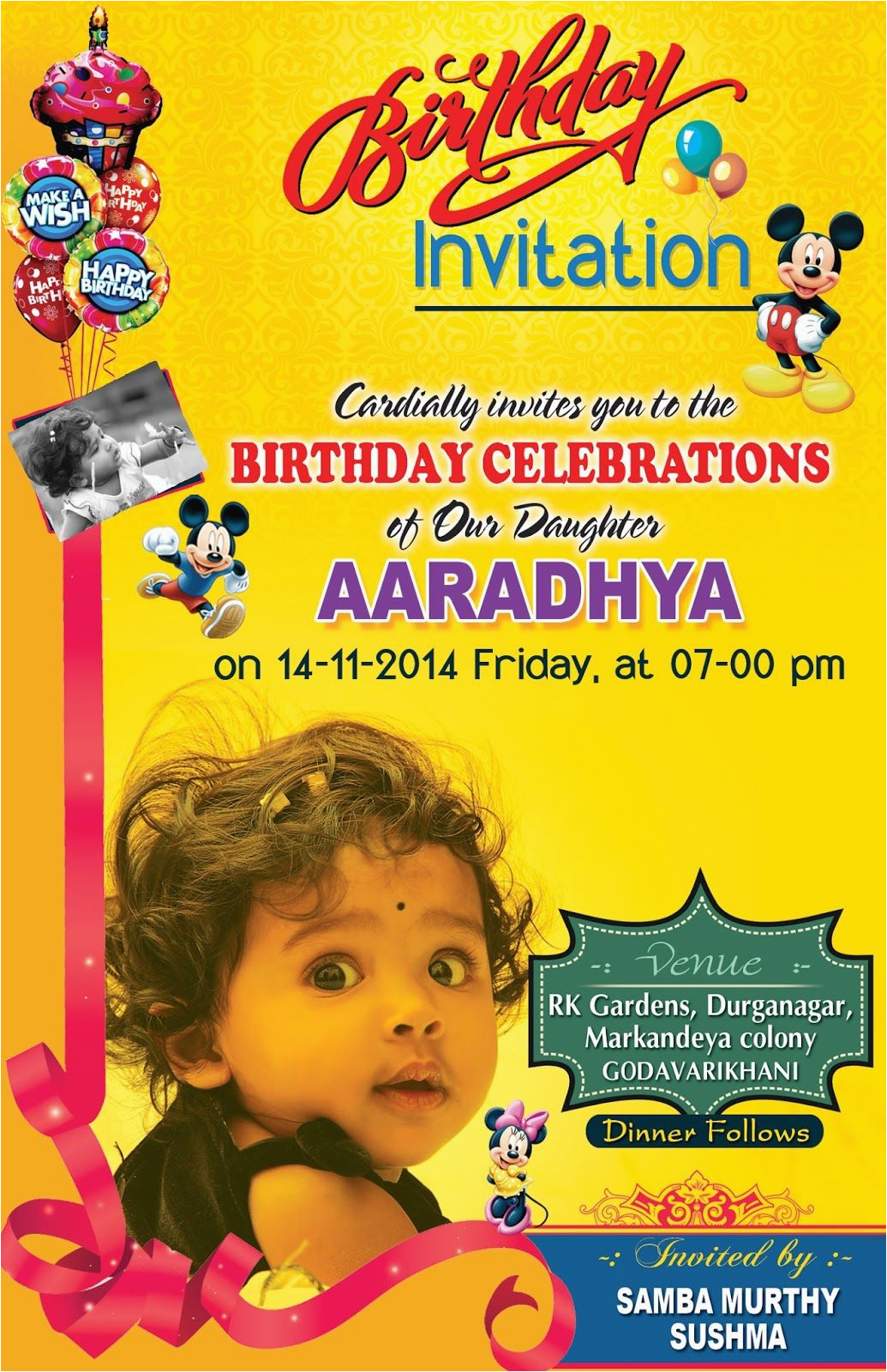1st Birthday Invitation Card Maker Online Free Psd Template