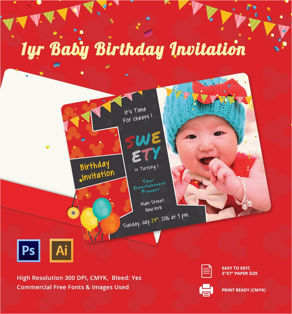 1st Birthday Invitation Card Maker Online Free Download Choice Image