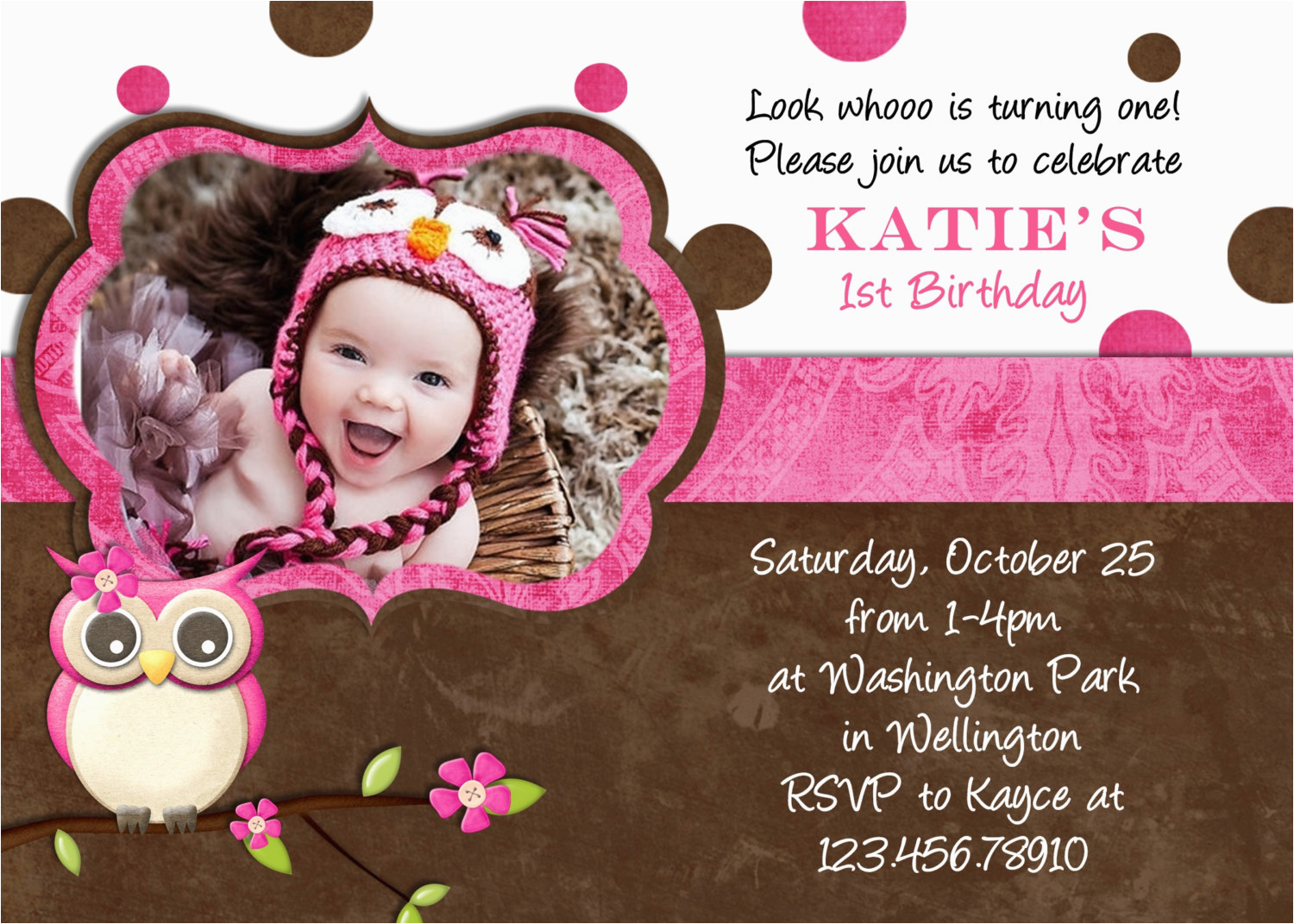 1st Birthday Invitation Card Maker Online Free Nice Ideas Cards Design Brown Color