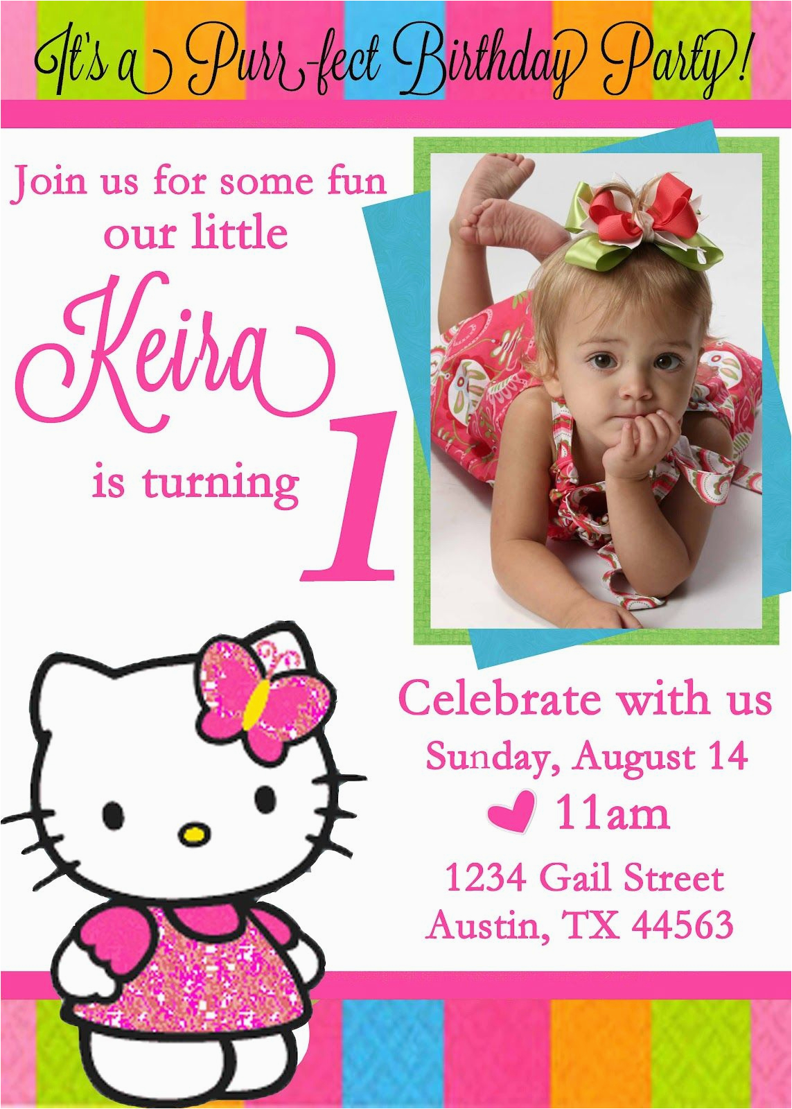 1st Birthday Invitation Card Maker Online Free Personalized Hello Kitty Invitations Updated
