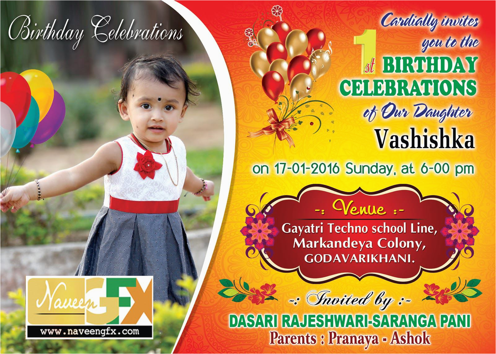 1st Birthday Invitation Maker Online Card
