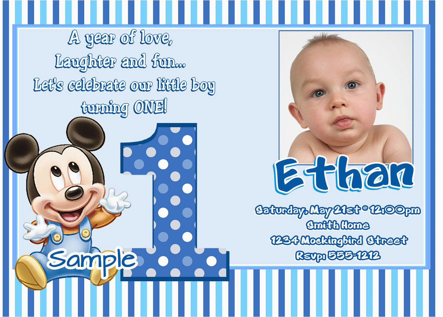 1st Birthday Invitation Maker Online Free Sample