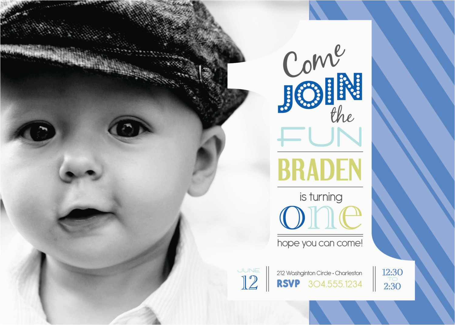 1st Birthday Invitation Message For Baby Boy 25 Off Boys Photo Digital File