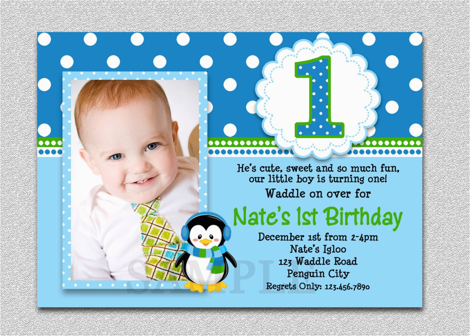 1st Birthday Invitation Wording For Boys Penguin Party Invites