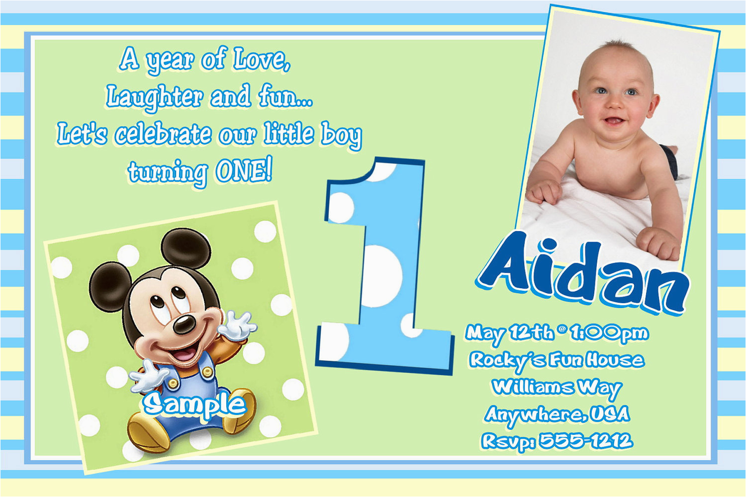 1st Birthday Invitations Boy Online Free Printable Mickey Mouse
