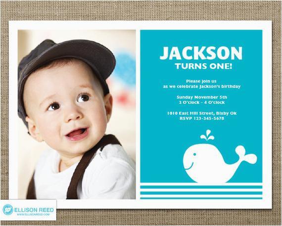 1st Birthday Invitations Boy Templates Free Whale Invitation Nautical