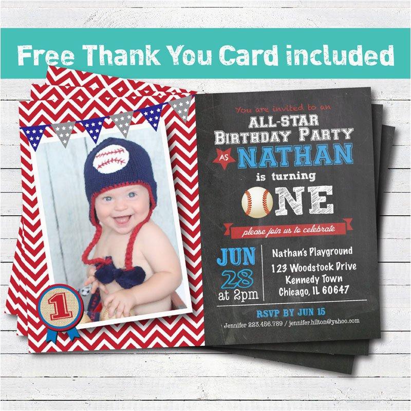 1st Birthday Invitations For Boys Baseball Invitation Baby Boy First