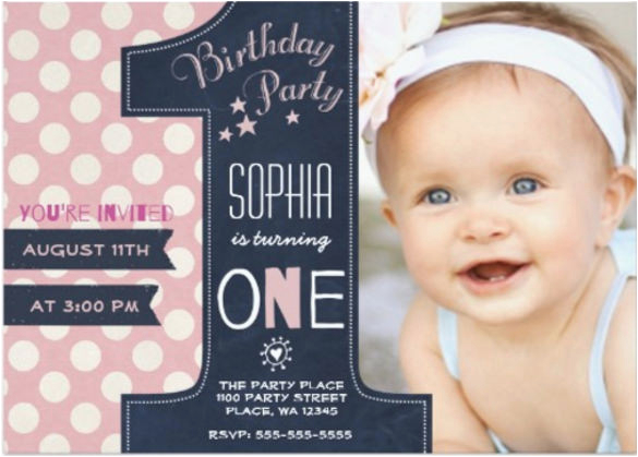 1st Birthday Invitations Girl Template Free 30 First Birthday Invitations Free Psd Vector Eps Ai