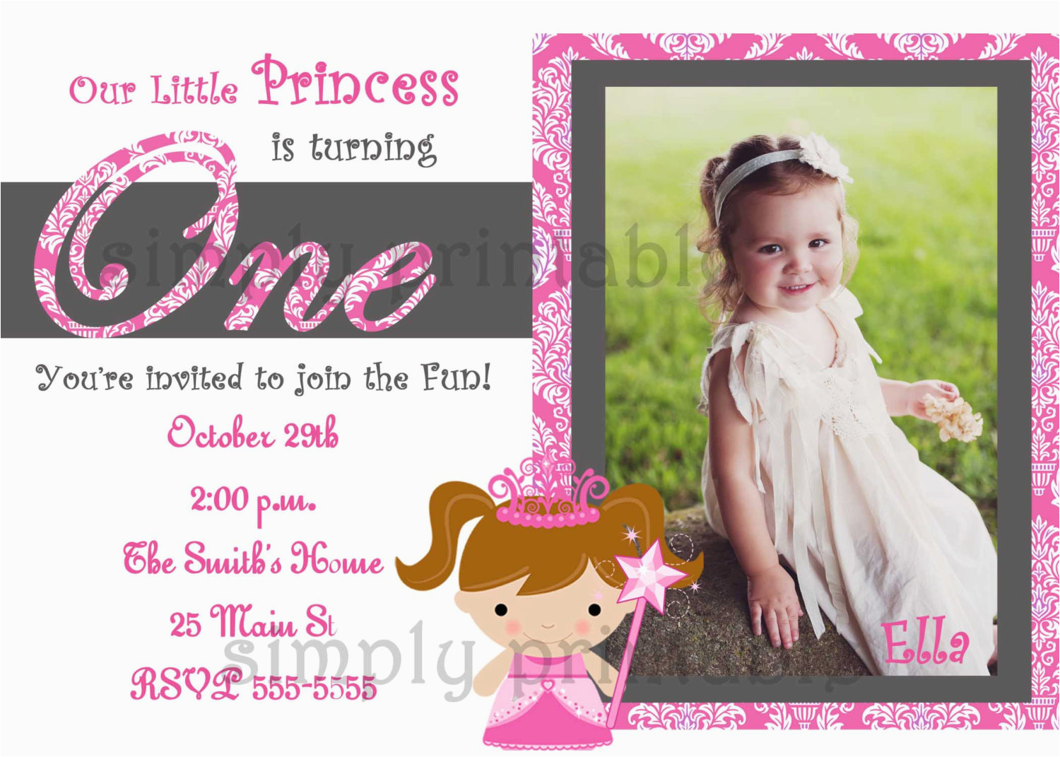 1st Birthday Invitations Girl Template Free Invites