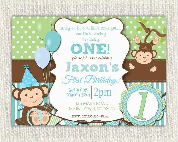 boys blue green monkey 1st birthday 2