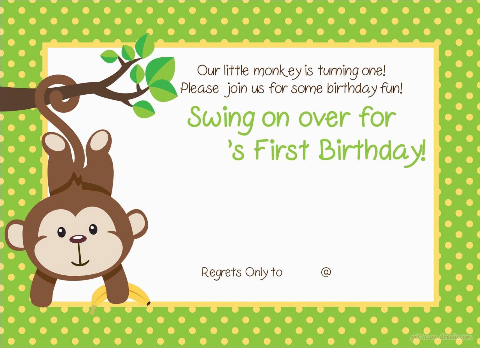 free printable 1st monkey birthday invitation