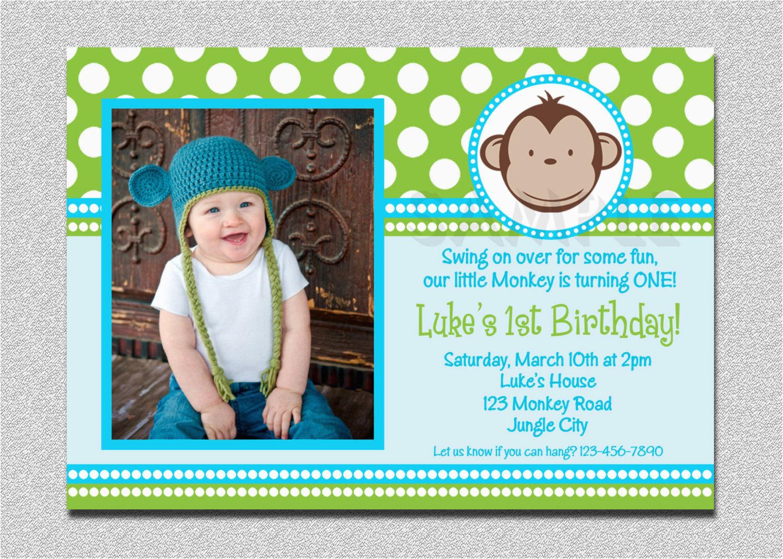 mod monkey birthday invitation 1st
