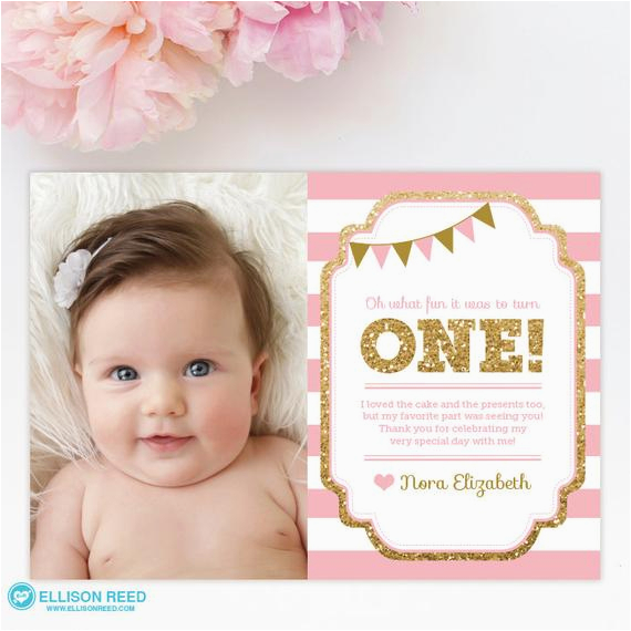 1st Birthday Photo Thank You Cards 1st Birthday Thank You Card 1st Birthday Thank You Note Pink