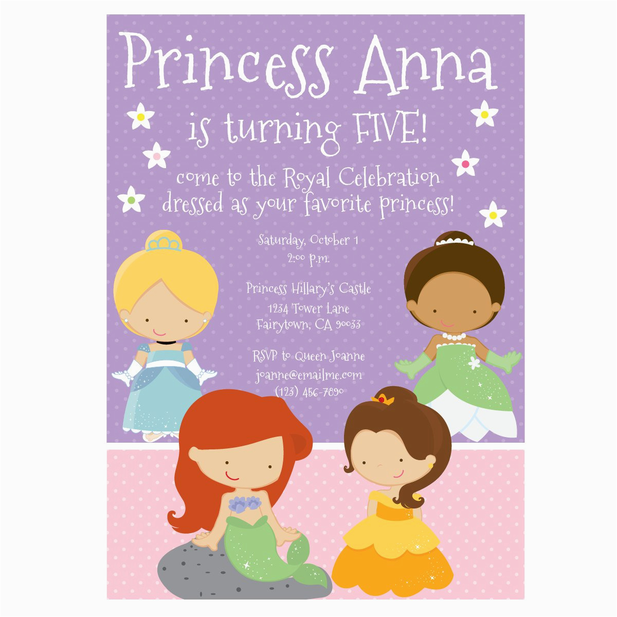 free printable 1st birthday princess invitations
