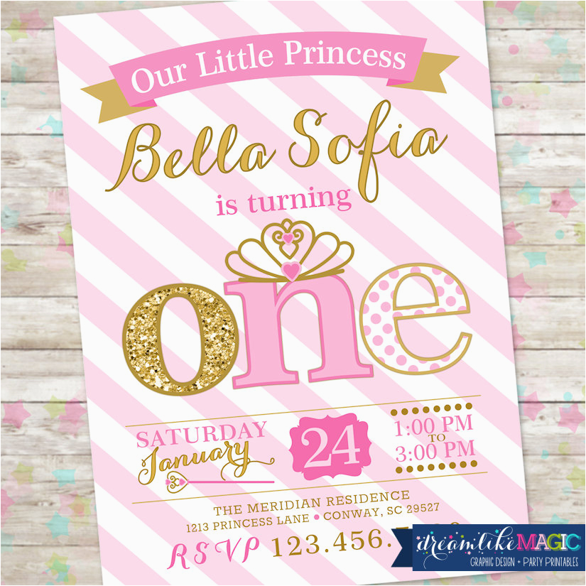 princess birthday invitation 1st