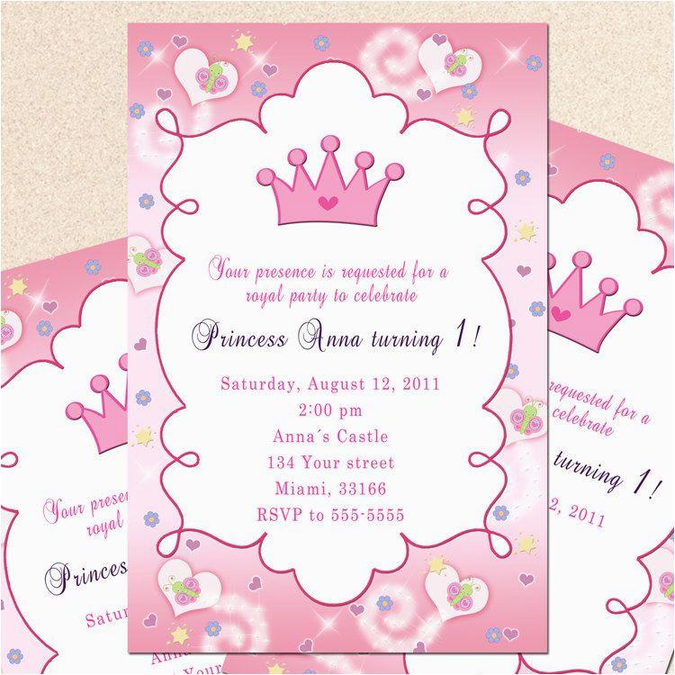 1st Birthday Princess Invitations Free Printables Invitation Card Butterfly Custom Girl