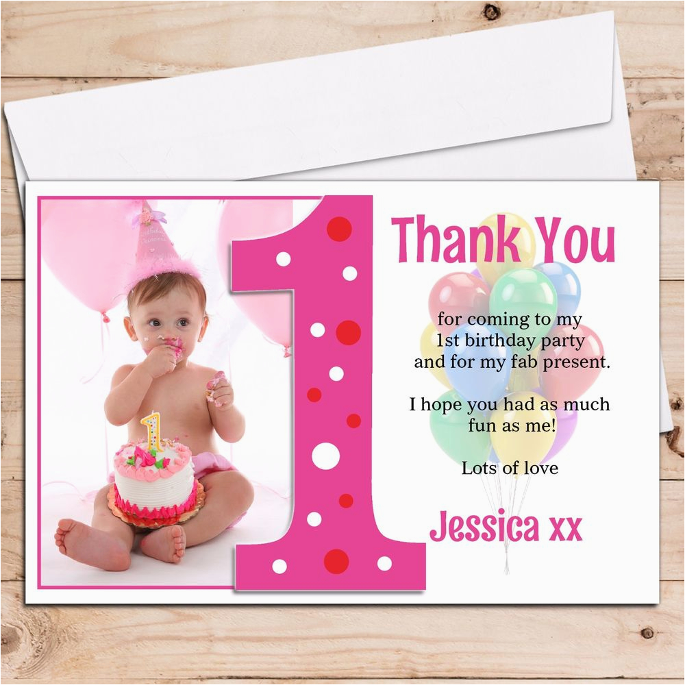 1st Birthday Thank You Photo Cards 10 Personalised Girls 1st First Birthday Thank You Photo