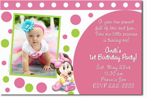 for baby birthday invitation card design pink background