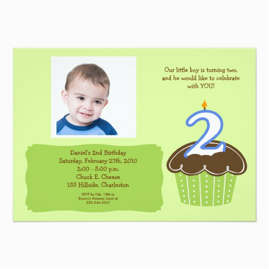 2 Year Old Cupcake Photo Birthday Invite Zazzle Com