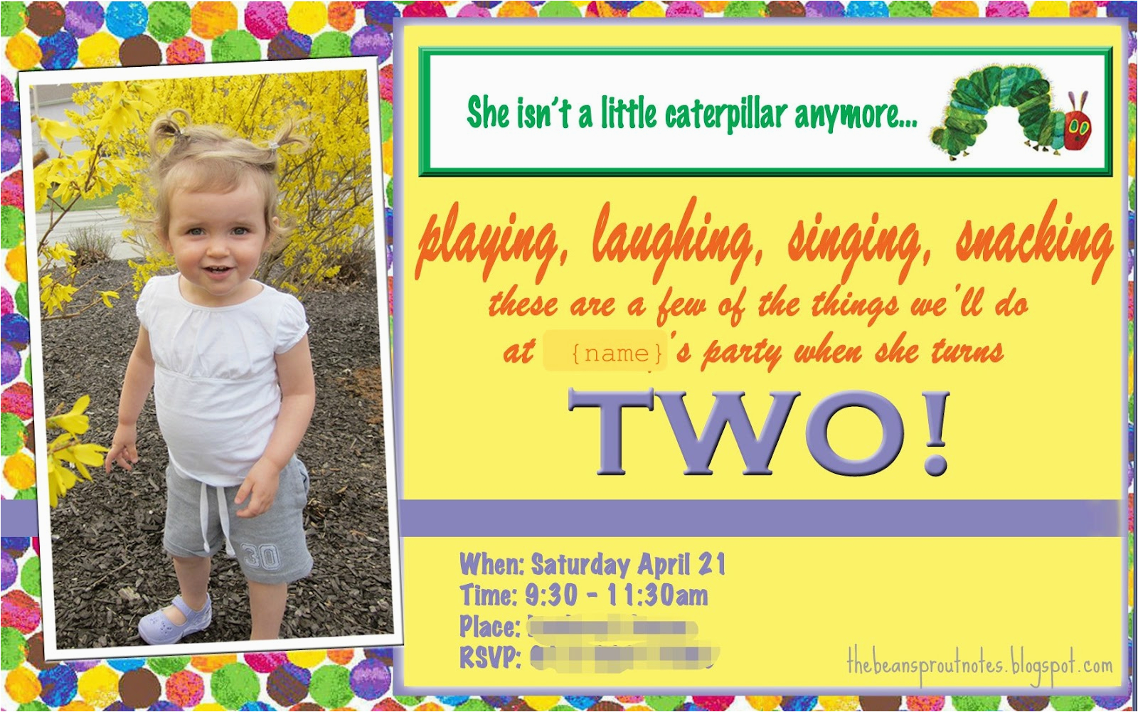 2 Year Old Birthday Invitation Sayings The Bean Sprout Notes A Very Hungry Caterpillar 2nd