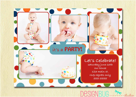 2 Year Old Boy Birthday Invitations First Party Invitation Rainbow Polka Dot 1st