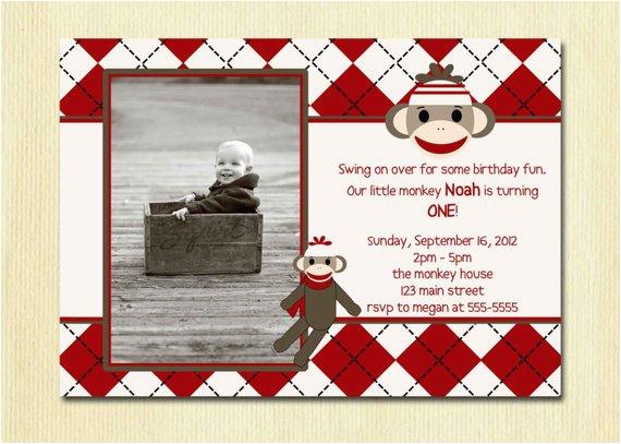 2 Year Old Boy Birthday Invitations Items Similar To Sock Monkey