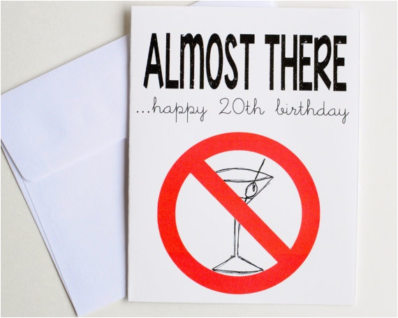 20th Birthday Card Ideas 20th Happy Birthday Card Almost to Drinking Age Martini