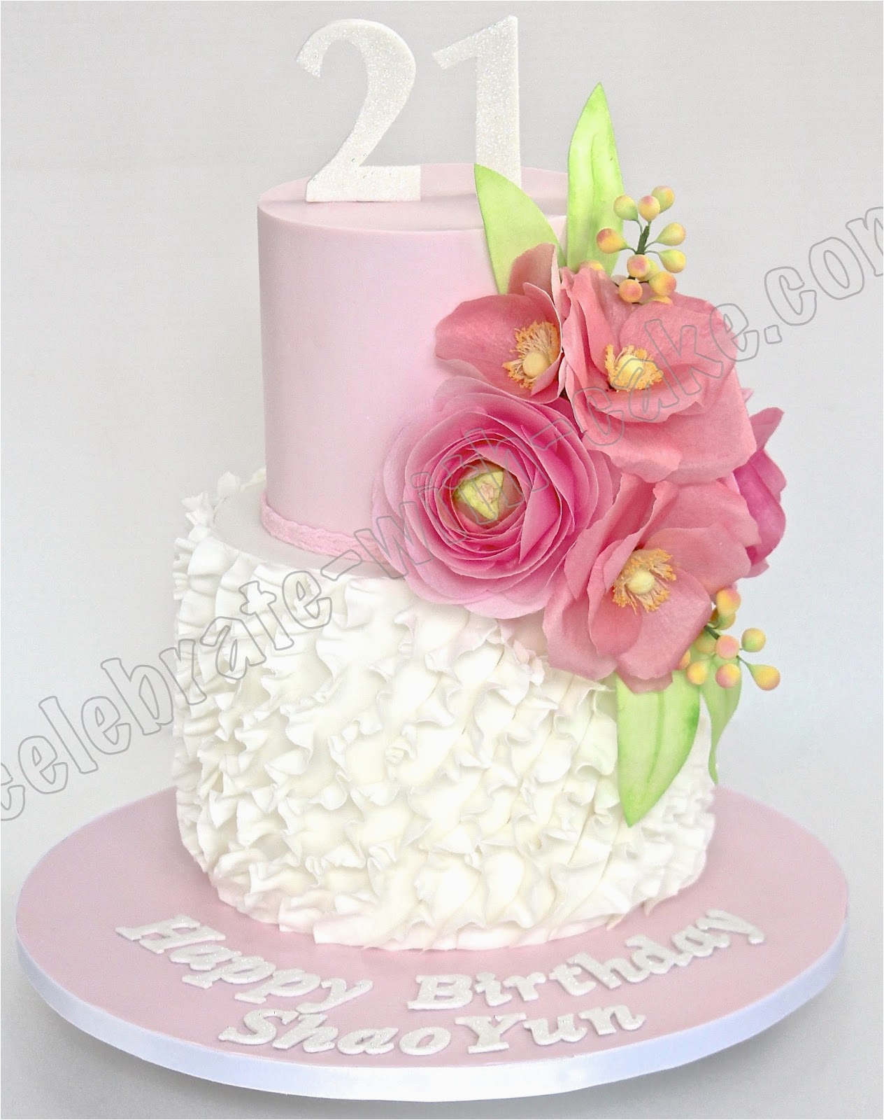 celebrate with cake flowers and ruffles 21st birthday