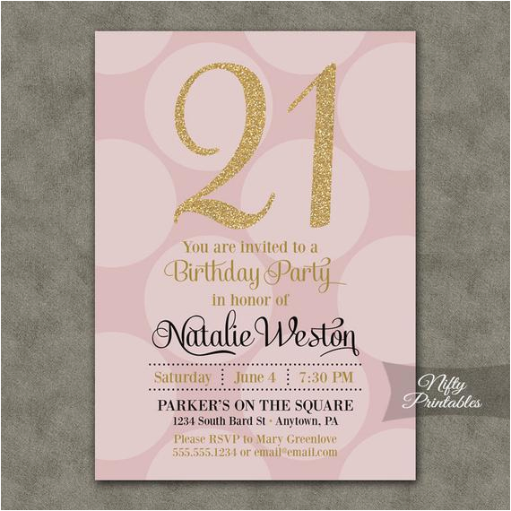 21st birthday invitations pink gold